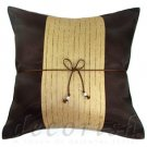 Brown Silk Couch Decorative Pillow Cover with Cream Middle Stripe Design