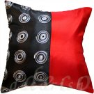 RED/BLACK EMBROIDERED DECORATIVE Silk PILLOW COVERS