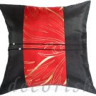 BLACK Silk Cushions Covers with RED Golden Bamboo Middle Stripe