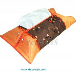 Orange Silk Kleenex Tissue Box Cover with Brown Floral style