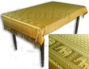 Reversible Thai Silk Table Cloths / Covers Yellow & Gold Thai Elephants