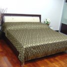 Reversible Silk Queen Size Bedspread with Thai Traditional Black & Gold