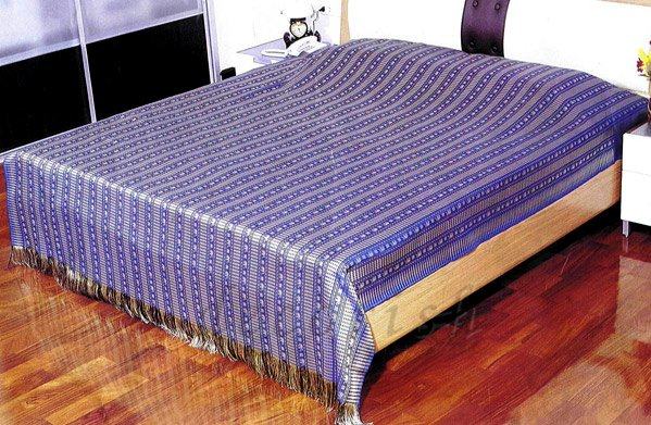 Reversible Silk Double Bed / Queen Size Bed Cover Thai Elephant Blue