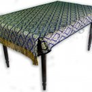 Reversible Thai Silk Table Cloth w/ Thai Traditional Dark Blue / Gold