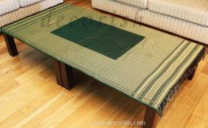 Reversible Thai Silk Table Cloth Green / Gold