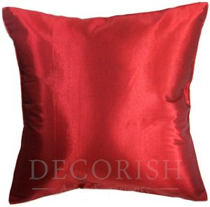 Red Silk Throw Couch Bed Decorative Pillow Covers