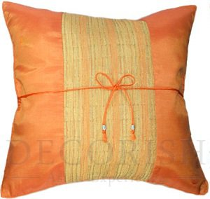 Orange Couch Decorative Accent Pillow Cover with Cream Middle Stripe