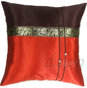 Silk Decorative Accent Pillow Covers - BURNT ORANGE / BROWN Thai Elephants Design 16x16 inches