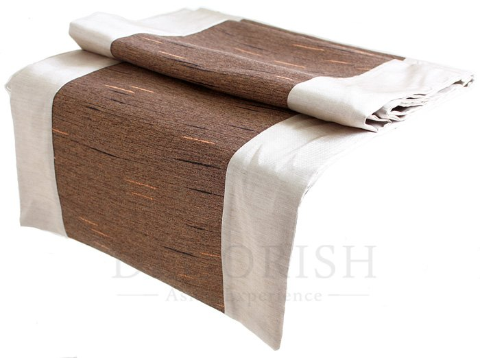 Pearl Ivory & Brown Stripe Silk Satin Decorative Table Bed Runner 14 by 90 inche