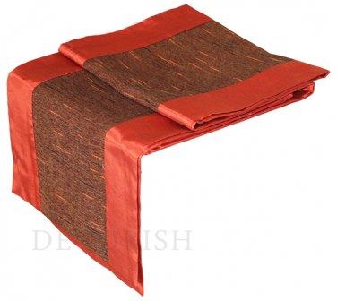 Burnt Orange Stripe Silk Satin Decorative Table Bed Runner 14 by 64 inche