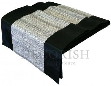 Black & Grey Stripe Silk Satin Decorative Table Bed Runner 14 by 64 inche