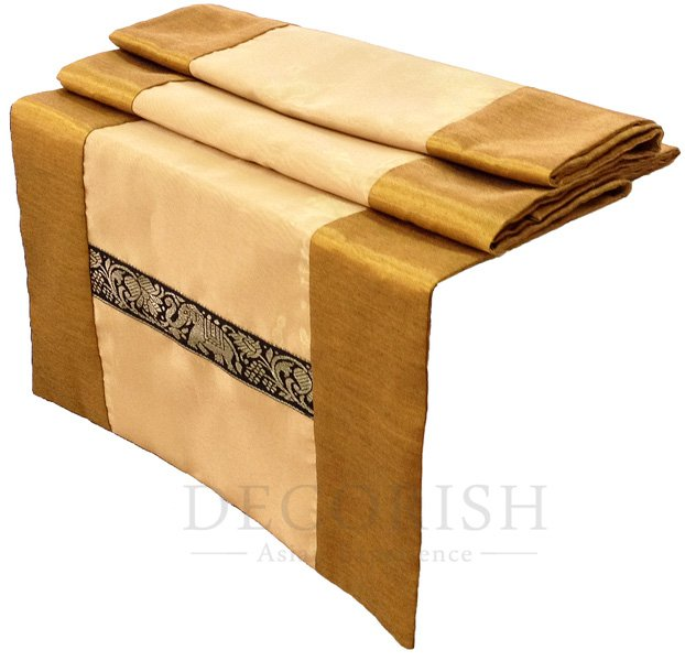 Thai Elephants Stripe Silk Satin Decorative Table Bed Runner 14 by 64 inch Yellow & Gold