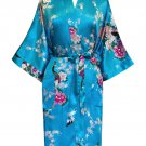 Women's Kimono Satin Bath Robe - Peacock & Blossom Design, Short Light Blue