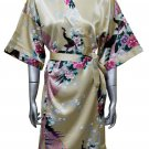 Women's Kimono Satin Bath Robe - Peacock & Blossom Design, Short Gold