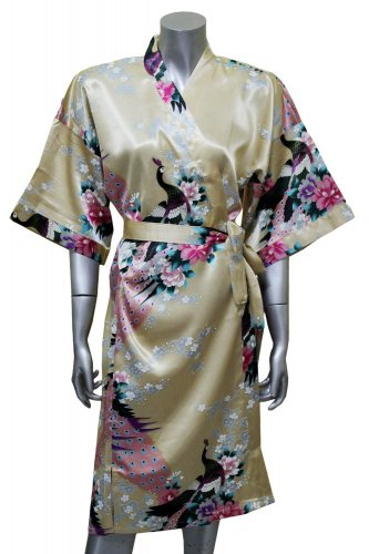 Women's Kimono Satin Bath Robe - Peacock & Blossom Design, Short Gold