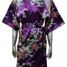Women's Kimono Satin Bath Robe - Peacock & Blossom Design, Short Violet Purple