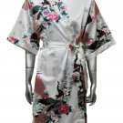 Women's Kimono Satin Bath Robe - Peacock & Blossom Design, Short White