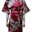 Women's Kimono Satin Bath Robe - Peacock & Blossom Design, Short Burgundy Maroon