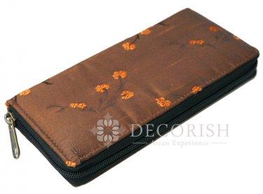 Thai Silk Vintage Chinese Floral Zipper Purse Wallet Women Handbag Long Chocolate Brown FS