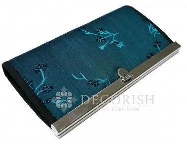 Thai Silk Vintage Floral Purse Wallet Clutch Women Handbag Long Blue Turquoise