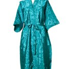 Decorish Unisex Lightweight Silk Kimono Bathrobe for Women & Men Rose Green Turquoise