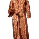 Decorish Unisex Lightweight Silk Kimono Bathrobe for Women & Men Rose Copper Brown