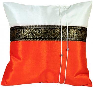 Thai Elephants Silk Throw Decorative Pillow Cover Orange