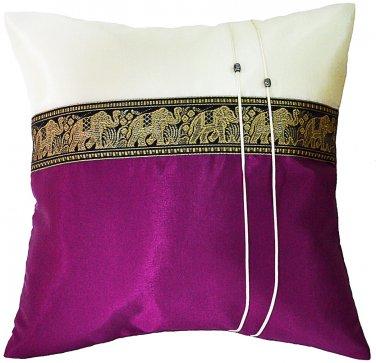 Thai Elephants Silk Throw Decorative Pillow Cover Plum Purple / Cream