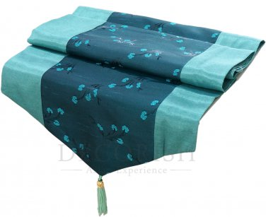 Silk Decorative Table Runner / Bed Runner 14x90 inche Green Turquoise Floral Stripe