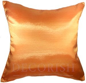 Tangerine Orange Silk Throw Decorative Pillow Cases for Sofa Couch 16x16