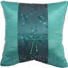 Silk Throw Pillow Covers - Green with Turquoise Floral Middle Stripe
