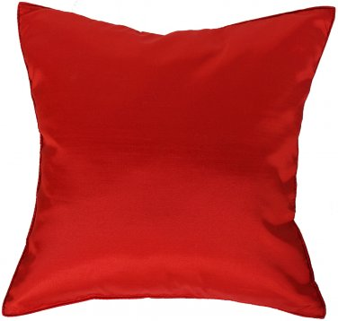 Christmas RED Silk Throw Decorative Pillow Cases for Sofa Couch 16x16
