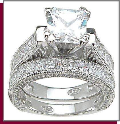2.5 CT Princess Cut Sterling Silver Wedding Ring Set