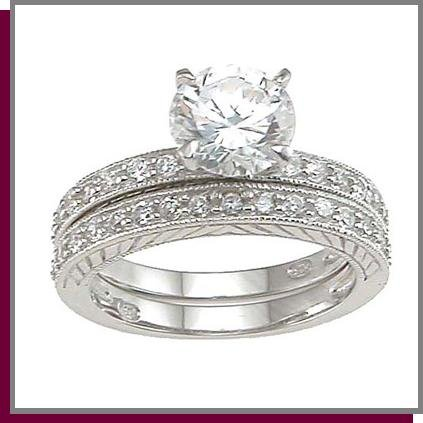 1.5 CT Solitaire Sterling Silver Wedding Ring Set