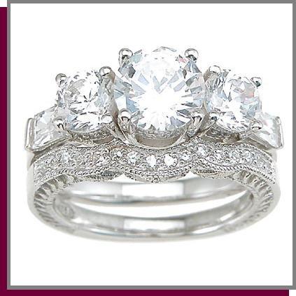 2.25 Brilliant Cut Sterling Silver Wedding Ring Set