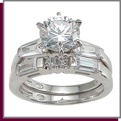1.5 CT Brilliant Cut Sterling Silver Wedding Ring Set