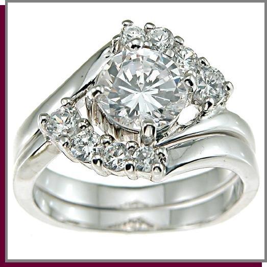 1.25 Round Brilliant Cut Sterling Silver Wedding Ring
