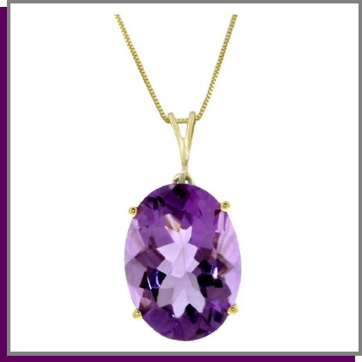 14K Solid Gold 7.55 ct Oval Amethyst Necklace 18""