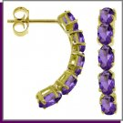 14K Solid Gold 2.5 ct Genuine Amethyst Earrings