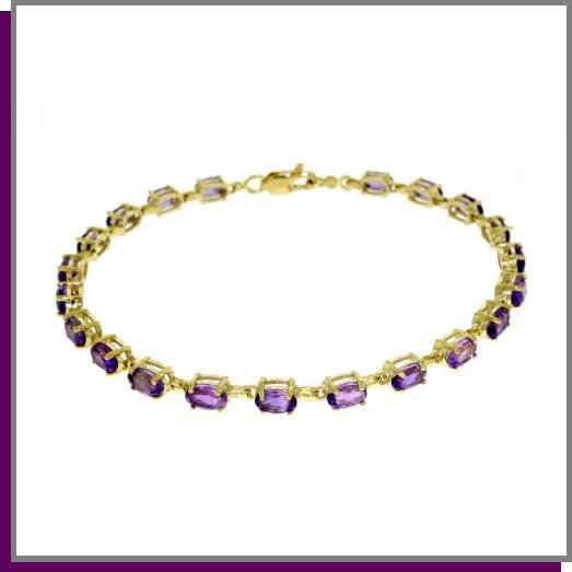 14K Solid Gold 5.5 ct Amethyst Tennis Bracelet