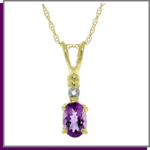 "14K Solid Gold Genuine Diamond & Amethyst Necklace 18"""