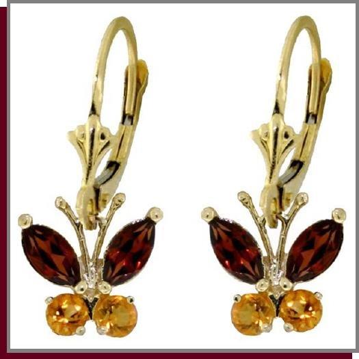 14K Solid Gold Natural Garnet & Citrine Butterfly Earrings