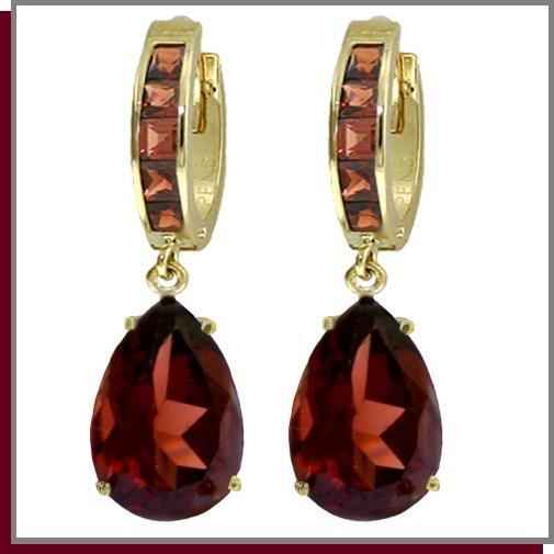 14K Solid Gold 13.0 CT Natural Garnet Dangle Earrings