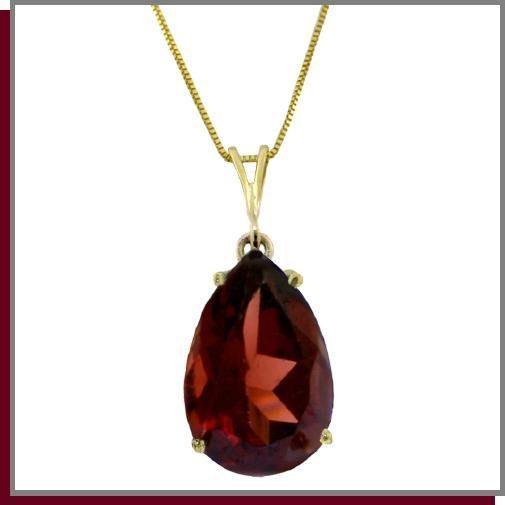 14K Solid Gold 5.0 CT Pear Natural Garnet Necklace 18""