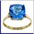 14K Solild Gold 3.6 CT Natural Blue Topaz Ring SZ 5 - 9