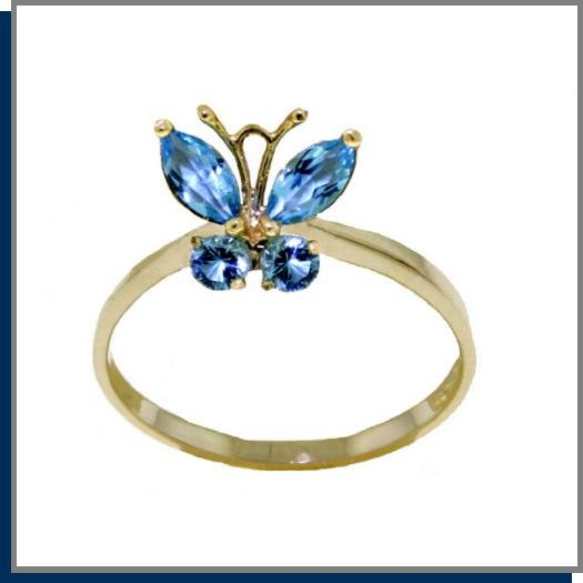 14K Sollid Gold .60 CT Natural Blue Topaz Butterfly Ring SZ 5 - 9