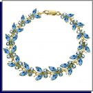 14K Solid Gold 16.5 CT Natural Blue Topaz Butterfly Bracelet