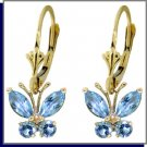14K Solid Gold 1.24 CT Natural Blue Topaz Butterfly Dangle Earrings