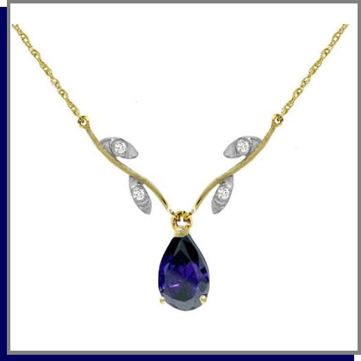 14K Solid Gold 1.5 CT Pear Sapphire & Diamond Necklace