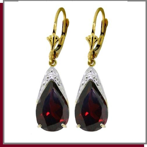 14K Solid Gold 10.0 CT Pear Garnet Leverback Earrings